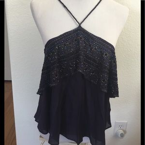 NWT- Free People Spaghetti Straps Beaded Top